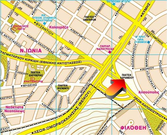 Χάρτης γύρω από την Πλατεία Αδριανείου